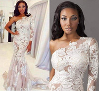 2019 sexy una spalla backless pizzo a-line guaina abiti da sposa a maniche lunghe lunghezza a maniche lunghe estate abiti da sposa abiti da sposa di alta qualità