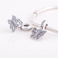 ALE 925 Sterlingsilber Pandora Armbänder Perlen Schmuck Schmetterling baumeln hängende Kristallkorn-Charme, passende europäische Charme-Armband für Frauen