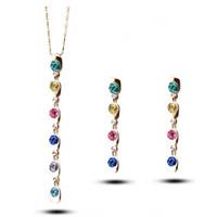 El más nuevo modelo borlas largos pendientes de collar 18kgp aleación colgante de joyería para mujeres mejores conjuntos de joyas 1426