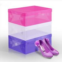현대 플라스틱 저장 용기 멀티 컬러 에코 친화적 인 투명 신발 상자 가정용 사각형 접이식 주최자 비 독성 0 85FD CB
