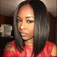 Echthaar Perücken für Schwarze Frauen Mittelteil Bob Lace Front Perücken Silky Straiight Natural Color Bellahair