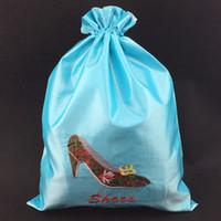 Вышивание Высоких каблуков шнурок обуви Сумки для путешествий Спорта сумки для хранения двухслойного многоразового пылесборника для обуви мешочка 27x36 см 2 шт / лота
