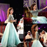 2015 Myriam Fares 중동 페르시오 롱 슬리브 백리스 공식적인 이브닝 드레스 깎아 지른듯한 얇은 줄 길이 댄스 파티 무브먼트 연예인 가운