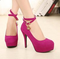 Rhinestone Ankle Strappy Suede Pumps Sexy Women Shoes Stilet...