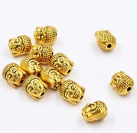 Free Ship 100pcs Gold Plated Buddha Head Spacer Beads For Je...