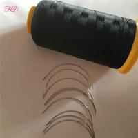 1 Set Cheveux Tissage Aiguilles Et Fil 100 Units Cheveux Courbés Aiguilles De Tissage +1 Rouleau Nylon Cheveux Tissage Fil Pour Coudre Des Cheveux