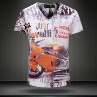 w1209 2015 summer vintage short sleeve v neck 3d print t- shi...