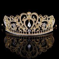 새로운 로얄 럭셔리 빛나는 라인 석 바로크 결혼식 크라운 신부 베일 티아라 크라운 헤드 밴드 스타일 고품질 무료 배송 WWL