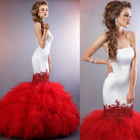 Extravagant Mermaid Wedding Gowns Strapless White Long Torso...