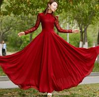 우아한 2016 봄 여름 여성 스탠드 칼라 프릴 레이스 쉬폰 맥시 드레스 바닥 길이 긴 가운 레드 이브닝 파티 드레스
