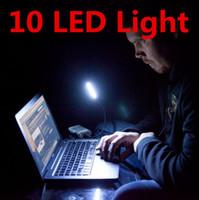USB 10 LED Işık Lamba 10 LEDS Gece Işıkları Lambaları DC 12 V Mini Taşınabilir Esnek Alüminyum Alaşım USB Gadget Dizüstü PC Için Güç bankası
