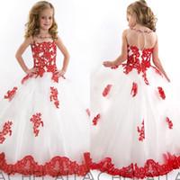 2019 лучшие продажи белый и красный цветок девочки платья Jewel шеи длина пола кружева аппликация девушки Pageant платья детские свадебные платья