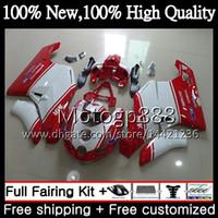 MotorcyPGe Rot Weißer Körper Für DUCATI 749S 999S 749 999 03 04 Karosserie 16PG22 749 999 S 03-04 749R 999R 2003 2004 Verkleidung für rote Verkleidung