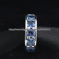 925 Sterling Silver Eternity Spacer Charme Bead com Céu Azul Cristal Serve Jóias Estilo Europeu Pandora Pulseiras Colares Pingente
