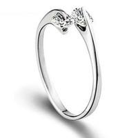 Gratis frakt 925 sterling silver ring telestesia dubbelkristall öppen design enkel vigselringar kvinna smycken eh128