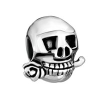 2016 package sale Halloween Rose skull bead Rhodium Plating ...