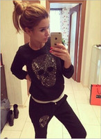 women clothing set skull blingbling sport suit women 2 piece...