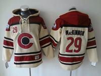 Qualité supérieure ! Colorado Avalanche Old Time Chandails de hockey # 29 Nathan MacKinnon À Capuche Pull Sport Sweatshirt D'hiver Veste