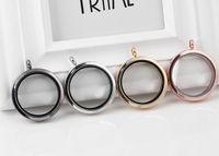 10st / lot 4Colors 35mm Big Plain Round Magnetic Glass Living Floating Charms Locket Pendant för kedjan halsband