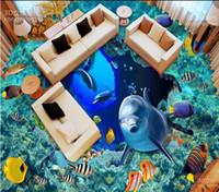 luxury Floor wallpaper Creative ground cracking underwater world 3D three-dimensional painting floor tile tile painting