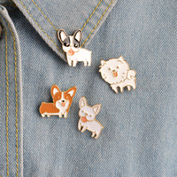 Poodle Pomeranian Corgi Bulldogs Dog Brooches Hard Enamel Pi...