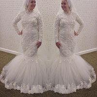 2016 vingtage 이슬람 긴 소매 웨딩 드레스 높은 칼라 머메이드 레이스 3D 꽃 아플리케 긴 소매 플러스 사이즈 아랍어 신부 가운