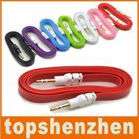 Câbles de voiture audio plat de nouilles plates 3.5mm audio pour mâles stéréo extension de voiture Câble audio pour mp3 pour téléphone 10 couleurs