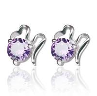 925 plata esterlina plateado CZ crystal diamond cloud stud pendientes joyería hermosa de la boda / regalo de compromiso para las mujeres F65