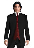 Sin botones Trajes de boda Negro Novio Esmoquin Padrinos de boda Mejor Mens Trajes formales por encargo (Chaqueta + Pantalones + Chaleco + Corbata)