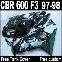 HONDA F3 grenaj CBR600 için tam uyum 1997 1998 CBR 600 siyah kaporta gövde kiti QY66 97 98 yeşil alevler