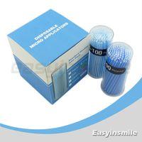 Partihandelfri frakt EasyInsmile 400 st Engångsmikroapplikatorborste Böjbar Regular Blue Dia.2.5 mm för tandläkare