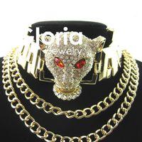 Atacado-2015 luxo retro cristal leopardo colar de cabeça cadeia colar declaração de jóias colar de mulheres jóias de alta qualidade por atacado