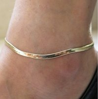 Kvinna Sexig Tunn Metallkedja Anklets Skala / Upscale Beach Sandaler Snake Bone Chain Armband Foot Smycken