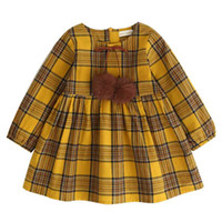 Fall Girls Dresses Yellow Big Plaid Long Sleeve Girls Clothe...