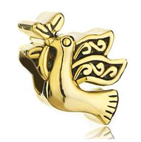 Bracciale in oro placcato oro di alta qualità colomba uccello in pace Bracciale con ciondolo in metallo per bambina europeo con foro grande Pandora Chamilia compatibile