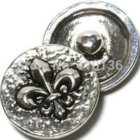 NSB1327 Hot Sale Snap Jewelry Button For Bracelet Necklace Fashion DIY Jewelry Flower Snaps Fleur De Lis Flower Buttons