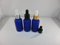 Atacado 100 pçslote 30 ml -1 oz azul cobalto garrafas de vidro fosco / Vails com conta-gotas Cap Para óleos Essenciais, cosméticos, perfumes-Novo