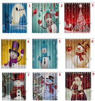 크리스마스 눈사람 샤워 커튼 산타 클로스 크리스마스 트리 눈사람 디자인 방수 욕실 샤워 커튼 12 후크 DHL에 의해