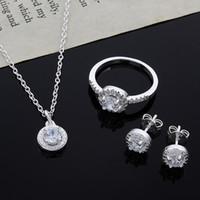 2015 nuovo design 925 sterling silver cz collana di diamanti orecchini set gioielli moda regalo di nozze per donna spedizione gratuita