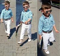 Yeni Erkek Moda Rahat Kıyafetler Set Sıcak Satış Çocuklar Yaz Beyefendi Set Çocuk Erkek Ekose Gömlek + Pantolon + Kemer 3 Parça Set Giyim 10957