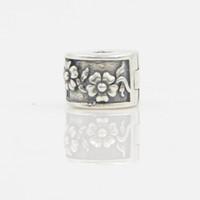 100% 925 Sterling Silber Pandora Armband Halskette Pendent DIY Bead Schmuck Weiß Kristall Antik Blume Charm Bead In Lucky Sonny Store