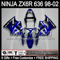 8Gifts + Blu corpo nero per Kawasaki ZX6R 98-02 ZX636 ZX 636 MY32 ZX6R ZX 6R 98 99 00 01 02 kit blu 1998 1999 2000 2001 2002 carenatura