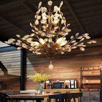 K9 كريستال الثريا شجرة فرع قلادة مصابيح خمر كريستال الثريات الحديد الثريات الحديثة المعيشة ضوء السقف تركيبات الإضاءة