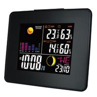 Freeshipping محطة الطقس اللاسلكية الرقمية مع لون الخلفية LCD الرطوبة درجة الحرارة في الهواء الطلق في الأماكن المغلقة والمنبه الرقمية