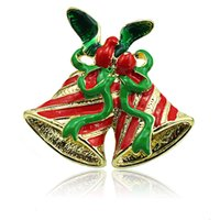 Venta al por mayor Broches Pins Fashion 2 Color Double Bells Mix Green Ribbon Brooches For Men Christmas Decoration Jewelry