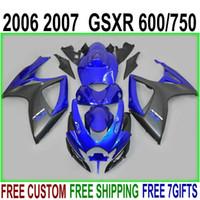Bodykits de alta calidad para Suzuki GSX-R600 GSX-R750 2006 2007 Km Matte Black Blue Blue Plastic Kit GSXR600 / 750 06 07 Juego de cargados KD1