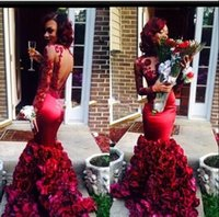 2016 Sexy Burgundy Prom Dresses Mermaid With Rose Floral Flo...