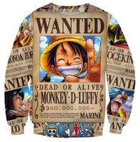 w1213 Unisexe Femmes / Hommes Sweats Sweat One Piece Singe D. Luffy Sweatshirts CREWNECK
