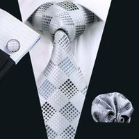 Envío rápido Lazos a cuadros Conjunto Gris Pocket Square Gemelos Jacquard Empresa Tejido Formal Trabajo Reunión Cuello Set Mens Moda TIES N-0355