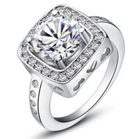 2015 new design 925 sterling swiss CZ Diamond Wedding Ring Platinum Plated Top quality fashion jewelry free shipping